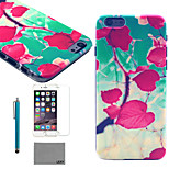 LEXY® Blue Sky Leaves Pattern Hard PC Back Case with 9H Glass Screen Protector and Stylus for iPhone 6/6S