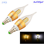 YouOKLight® 2PCS E14 3W 300lm 3000K/6000K 16 x SMD2835 Warm White/  White LED Candle Lamp - Gold/silver(AC 85~265V)