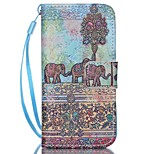 Elephant Pattern PU Material Card Lanyard Case for iPhone 5/5S