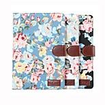 tablet pc flor tirón de la carpeta floral cubierta de la caja con la bolsa de soporte de tarjeta de titular de los mini 4 (assored