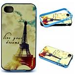 2-em-1 sonhos padrão tower1 Eiffel TPU tampa traseira + pára-choques pc soft case à prova de choque para iphone 4 / 4s