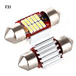 Yobo 4W 320lm feston 31mm 4 * 4014md condus lumina alba pentru bec de volan auto / lampă de citit - (2 buc / DC 12-24V)