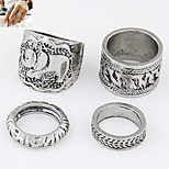 Exquisite European Style Fashion Metal Elephant Rings Set