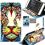 LEXY® Lion Tribal Pattern PU Full Body Leather Case with Screen Protector and Stylus for iPhone 6/6S