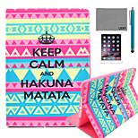 lexy® patrón alfombra tribal tranquila de la PU del tirón del cuero Caso del soporte con protector de pantalla y el stylus para iPad mini