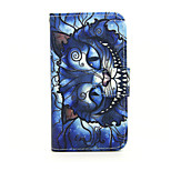 Printed Blue Cat PU Leather Wallet Full Body Case with Stand for Nokia Lumia 630/635
