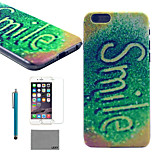 LEXY® Smiling Word Pattern Hard PC Back Case with 9H Glass Screen Protector and Stylus for iPhone 5/5S