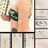 8pcs Christmas Tree Snowflake Eagle Temporary Gold Silver Flash Metallic Tattoos Sticker Bracelet Necklace Waterproof