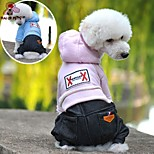 FUN OF PETS® Lovely Solid Colour Denim Jumpsuit with Hoodies  for Pets Dogs (Assorted Sizes and Colours)
