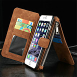 Card holder With Zipper Split Suck Stickers PU Material Flip Wallet Leather Case for iPhone 6/ 6S (Assorted Colors)