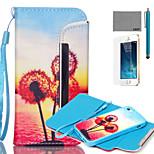 lexy® spaccatura modello tipo tramonto tarassaco pu custodia in pelle corpo pieno, con la protezione dello schermo e lo stilo per iPhone 5