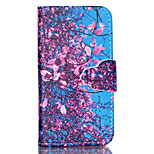 motif de cerisier cuir PU cas de tout le corps avec support et fente pour carte pour iPhone 4 / 4S