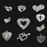 Beadia Antique Silver Metal Heart Charm Pendants 10 Styles