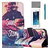 lexy® großen Sommergeschichte-Muster PU-Ganzkörper-Ledertasche mit Displayschutzfolie und Schreibkopf für iphone 5 / 5s