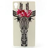 Flower Giraffe Painting Pattern TPU Soft Case for Sony Xperia M4 Aqua