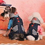 FUN OF PETS® Fashion High Quality Cotton Denim Overall Design Jumpsuit with Hoodies Dog Clothes for Pets Dogs