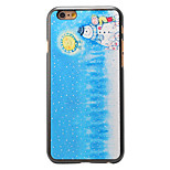 Christmas Style Kids with Snowman and Moon Pattern PC Hard Back Cover for iPhone 6