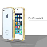 Plating Metal with Crystal Drill Frame+TPU Two-in-One Cases for iPhone 4/4S (Assorted Colors)