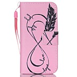 Feather Pattern PU Material Card Lanyard Case for iPhone 5/5S