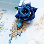 Blue Rose Lace Fabric Handmade Artificial Crystal Brooch