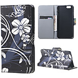Magnetic Leather Stand Case Cover for iPhone 6/6S - White Flowers