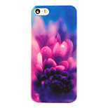 Luxury Purple Flower Pattern Transparent PC Back Cover for iPhone 5/5S