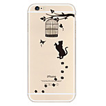 Naughty Black Cat Pattern TPU Material Soft Phone Case for iPhone 6/6S