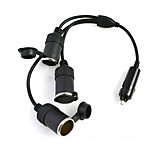 DearRoad 1 to 3 Car Cigarette Cigar Lighter DC 12V Extension Cable Adapter Socket Charger