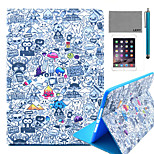 LEXY® Cartoon Graffiti Pattern PU Leather Flip Stand Case with Screen Protector and Stylus for iPad Air 2/iPad 6