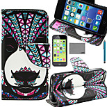 LEXY® Panda Tribal Pattern PU Full Body Leather Case with Screen Protector and Stylus for iPhone 5C