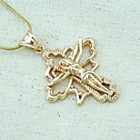 18K Gold Plated CC Russia Color Jesus Cross Pendant