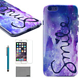 LEXY® Purple Dream Pattern Hard PC Back Case with 9H Glass Screen Protector and Stylus for iPhone 6/6S