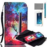 lexy® geteilten stern universum-Muster PU-Ganzkörper-Ledertasche mit Displayschutzfolie und Schreibkopf für iphone 5 / 5s