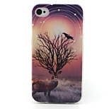 Deer Painting Pattern TPU Soft Case for iPhone 4/4S