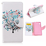 Cherry Trees Pattern PU Leather Case Cover with Stand and Card Holder for Sony Xperia M4