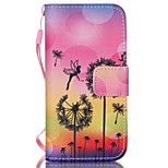 Dandelion Pattern PU Material Card Lanyard Case for iPhone 5/5S