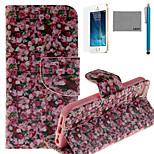 LEXY® Rose Sea Pattern PU Full Body Leather Case with Screen Protector and Stylus for iPhone 5/5S