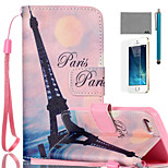 LEXY® Pink Sky Eiffel Pattern PU Full Body Leather Case with Screen Protector and Stylus for iPhone 5/5S