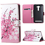 Flip Wallet Leather Stand Cover for Asus Zenfone 2 Laser ZE550KL - Plum Blossom
