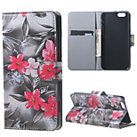 Red Flowers Magnetic PU Leather Stand Case Cover for Iphone 6S
