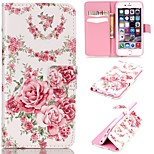 Pink Roses Pattern Relief PU Leather Wallet Case with Stand and Card Holder for iphone 6/6S