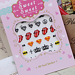 Nail Harajuku Fluorescence Cross Lips Tongue Handwritten English Letter Word Sticker Nail Decals