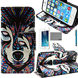 LEXY® Wind Wolves Tribal Pattern PU Full Body Leather Case with Screen Protector and Stylus for iPhone 5/5S