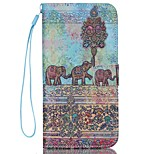 Elephant Pattern PU Material Card Lanyard Case for iPhone 6/6S