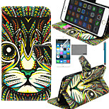 LEXY® Green Cat Tribal Pattern PU Full Body Leather Case with Screen Protector and Stylus for iPhone 6/6S