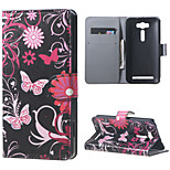 Butterfly Flowers Wallet Leather Stand Case for Asus Zenfone 2 Laser ZE500KG ZE500KL