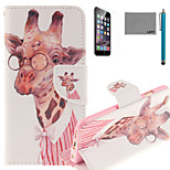 LEXY® Glasses Gentle Deer Pattern PU Full Body Leather Case with Screen Protector and Stylus for iPhone 6/6S