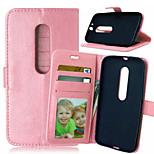pu cartera de cuero caso de la alta calidad del teléfono móvil funda para Motorola MOTO g3 (color clasificado)