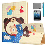 LEXY® Lovely Bear Pattern PU Leather Flip Stand Case with Screen Protector and Stylus for iPad Mini 1/2/3