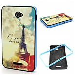 2-in-1 Dreams Eiffel Tower Pattern TPU Back Cover + PC Bumper Shockproof Soft Case For Sony E4